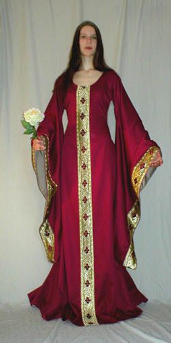 Reproduction medieval dress. Beautiful gold on deep red.