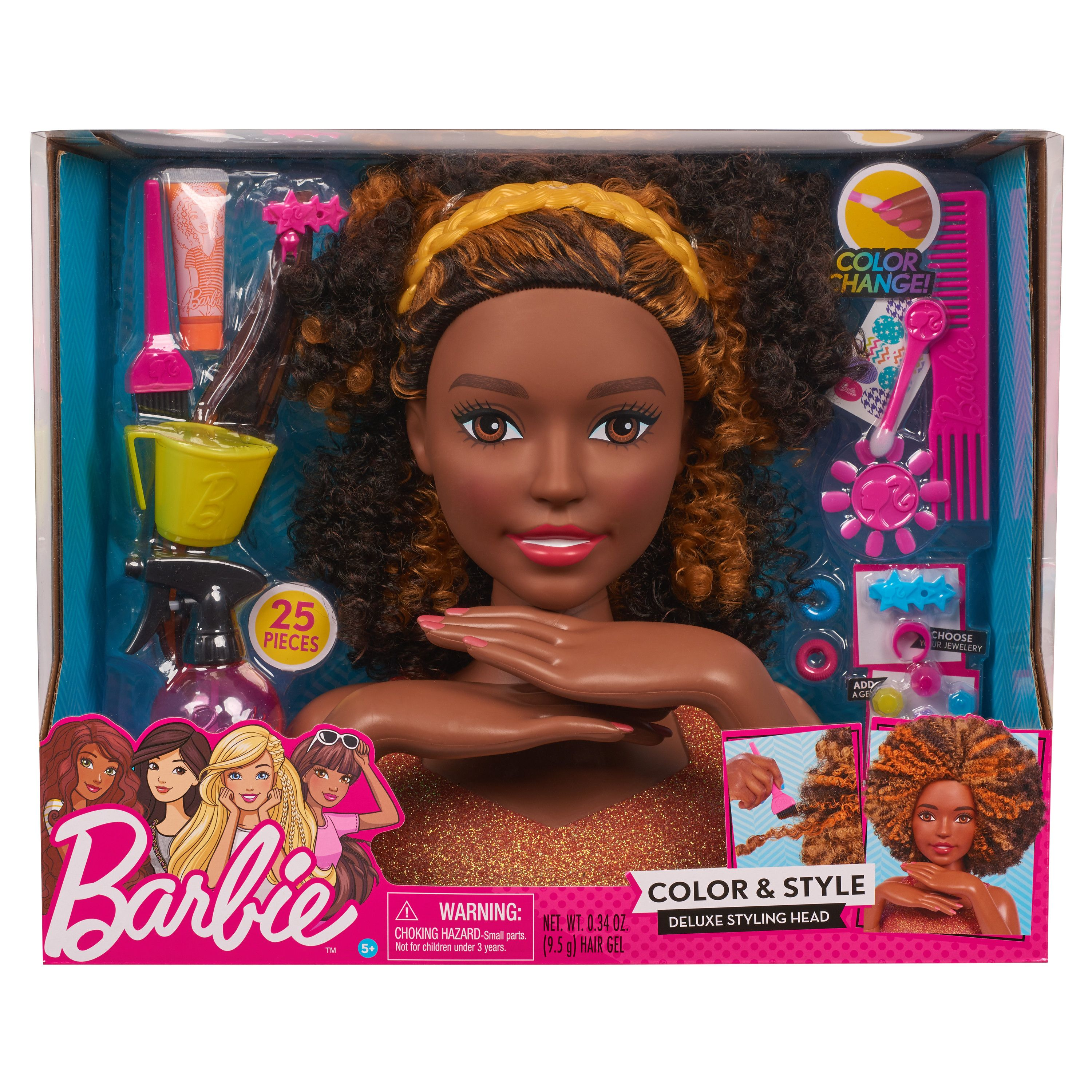 Barbie Color Style Deluxe Styling Head Curly Hair Walmart Com In 2020 Curly Hair Styles Barbie Styling Head Black Curly Hair
