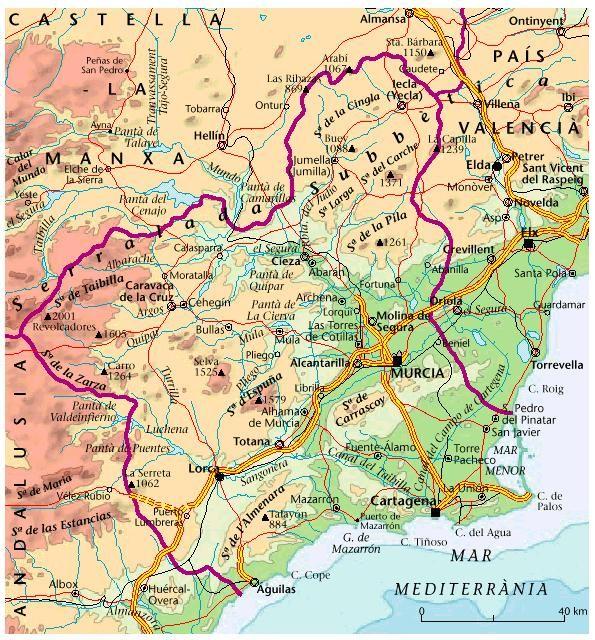 carte espagne region murcia
