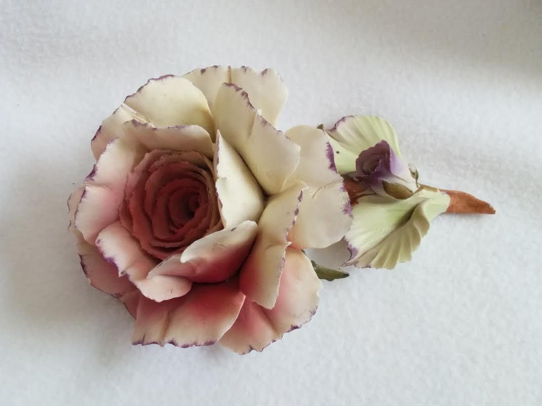 Vintage Capodimonte Rose With Bud Hand Painted Italian