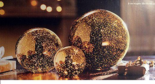 Leuchtkugeln Kugelleuchten Metallic In Gold Leuchtkutgel 3er Set Aus