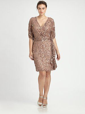 Aidan Mattox, Salon Z - Sequin Wrap Dress - Saks.com | Fave Picks ...
