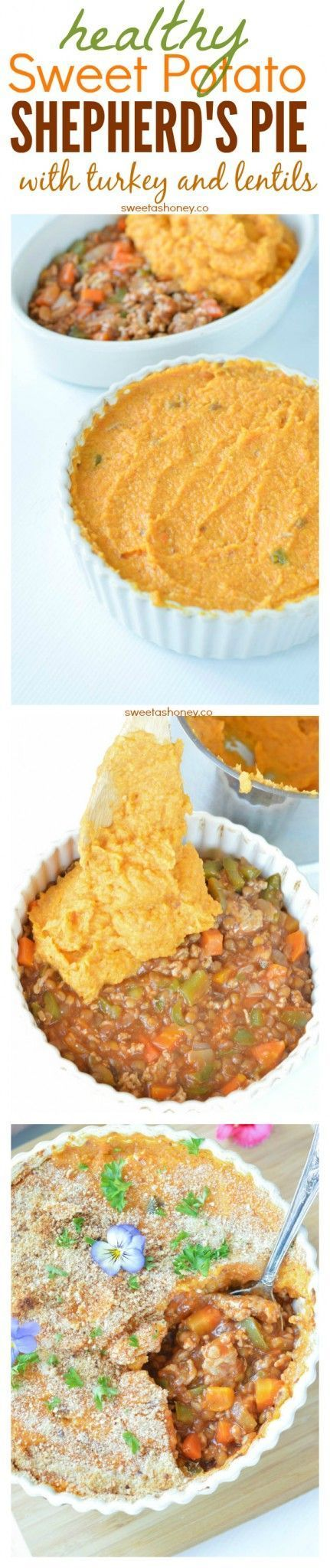 Healthy Sweet Potato Shepherd's Pie. Healthy way to use Thanksgiving Leftover or an healthy New Year recipe. Easy, Clean Eating Comfort food for families dinners. Dairy free. Gluten free.