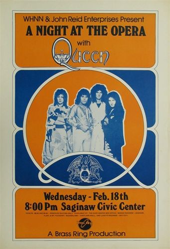 Queen A Night At The Opera Original Concert Poster Vintage Rock Poster Music Poster Vintage Concert Posters Concert Posters