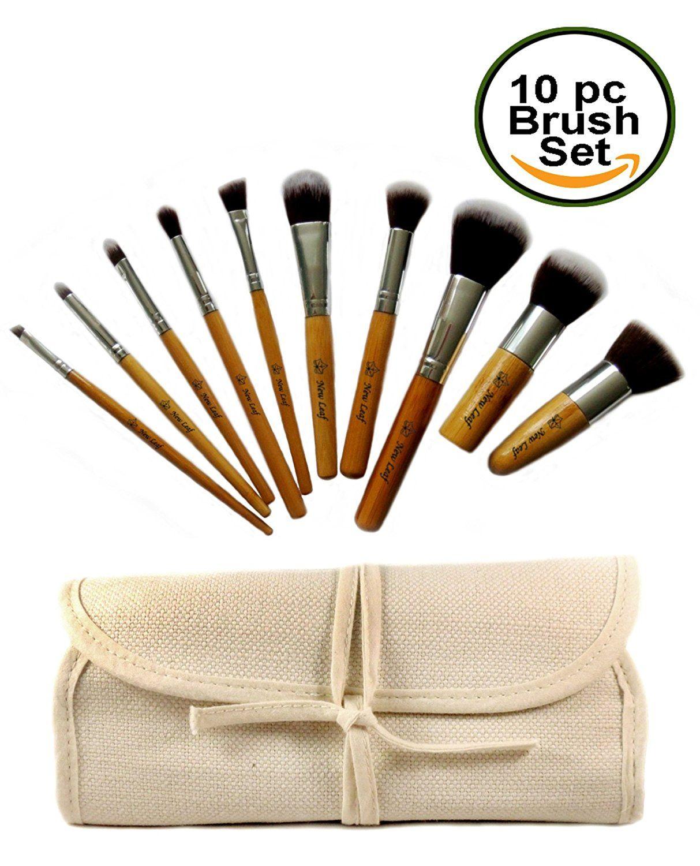 Eco Bamboo Kabuki Makeup Brush Tool Set 10 Pcs Cruelty