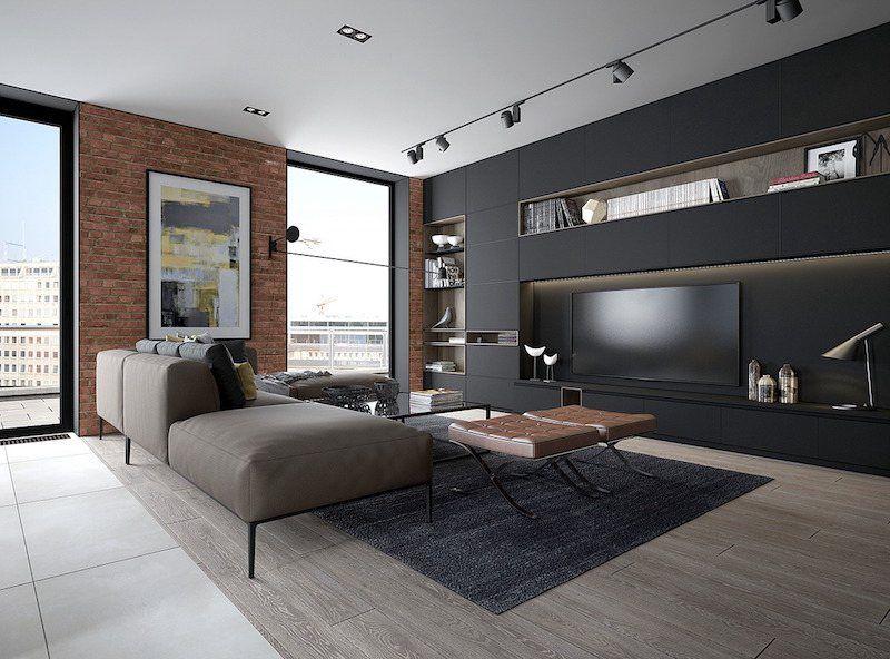 Mur En Brique Apparente Dans Le Salon Et Comment Le Mettre En Valeur Deco Salon Design Deco Salon Mur Brique