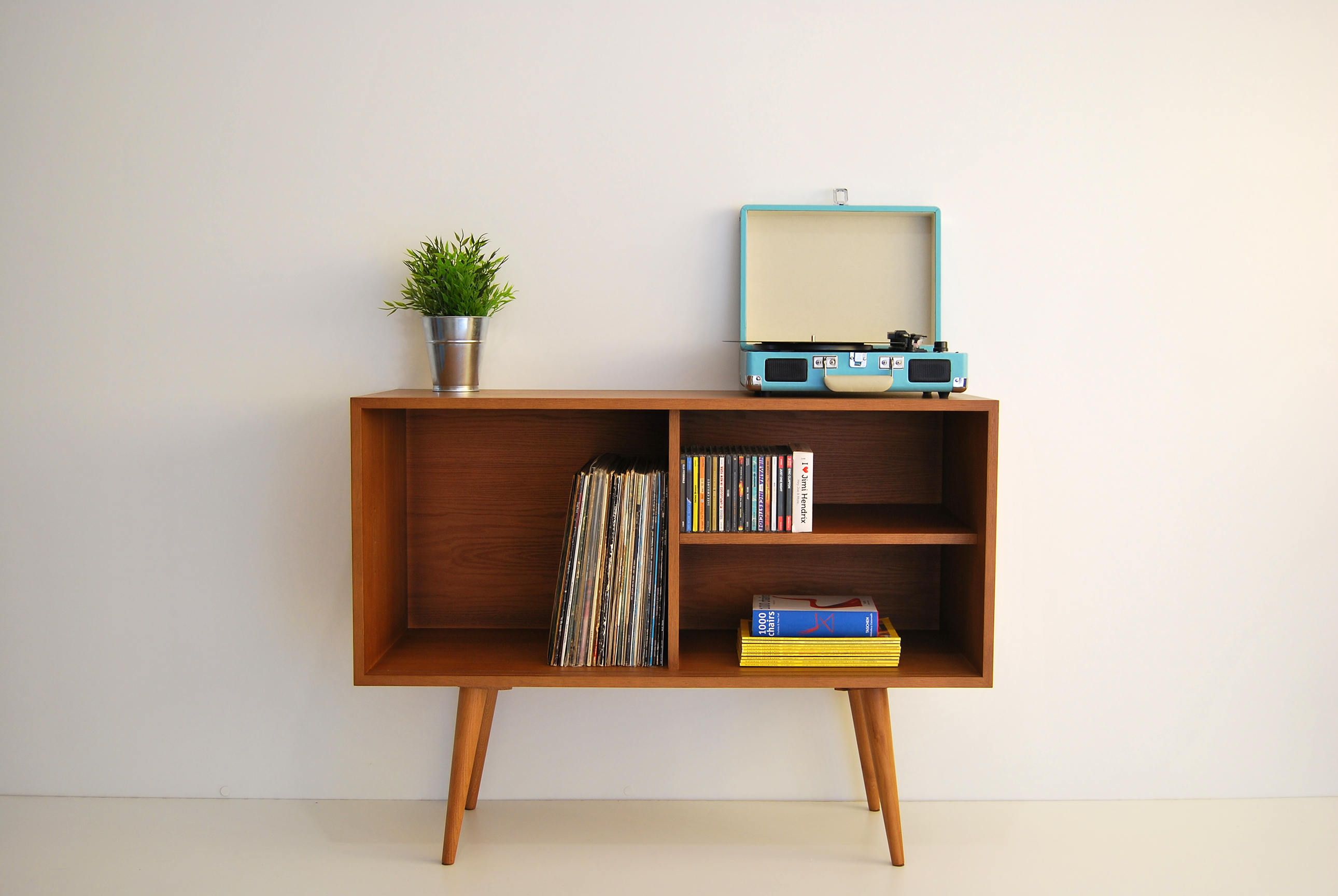 Vinyl Record Storage Mid Century Modern Sideboard Media Console