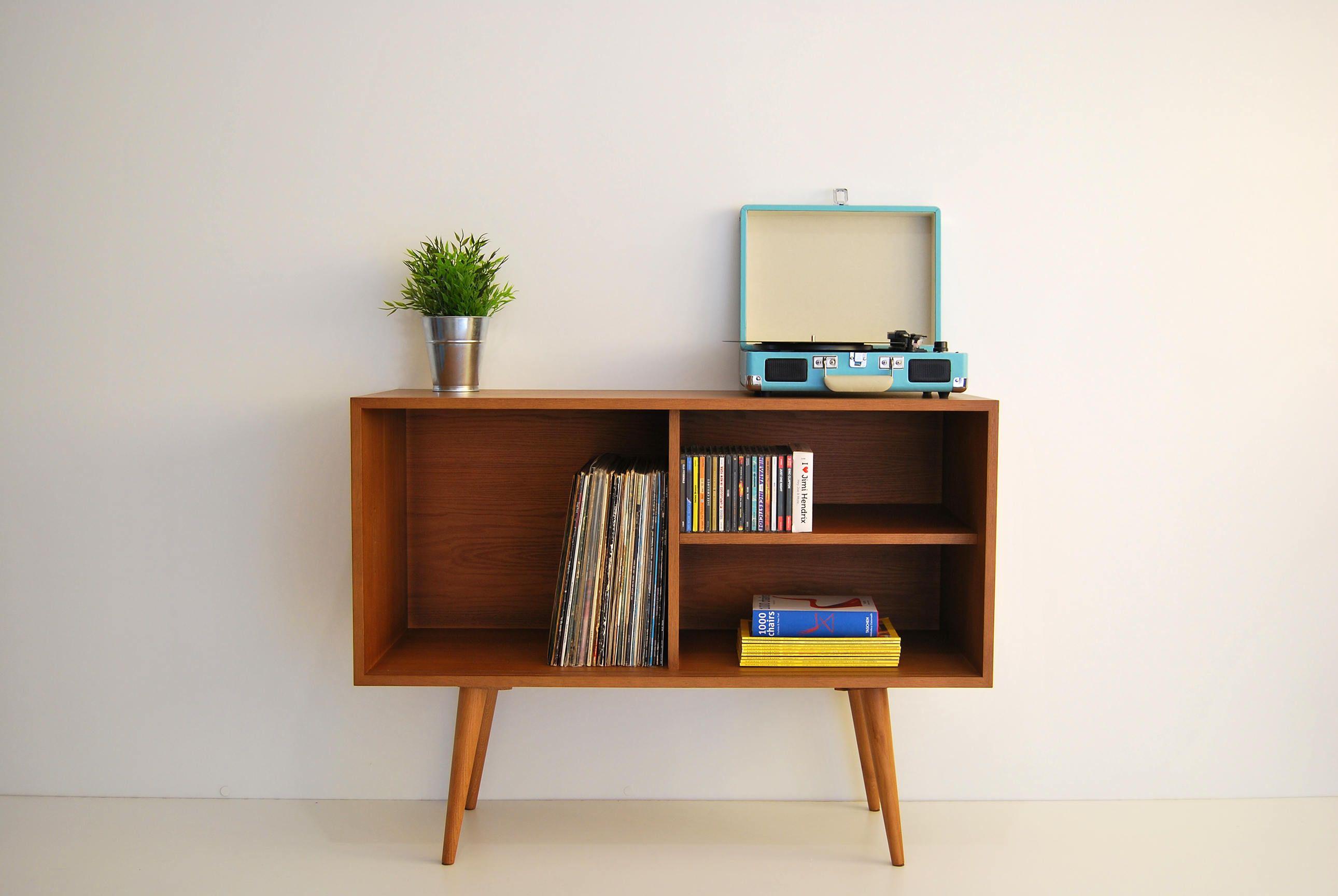 Vinyl Record Storage Mid Century Modern Sideboard Media