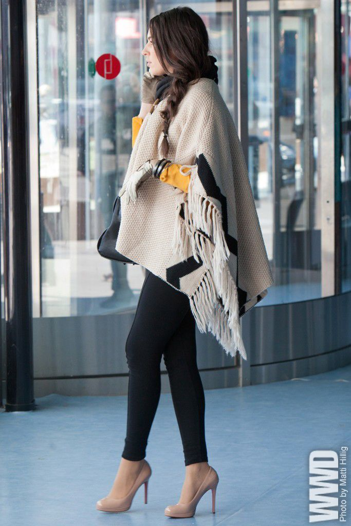 pancho/ oversized scarf... & the shoes are amazingly pretty!