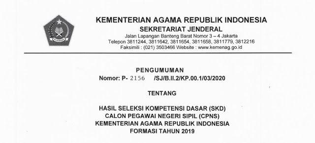 Kemenag Hasil Tes Skd Cpns 2019 Peserta Lolos Ke Tahap Skb Tanggal Agama Pemerintah