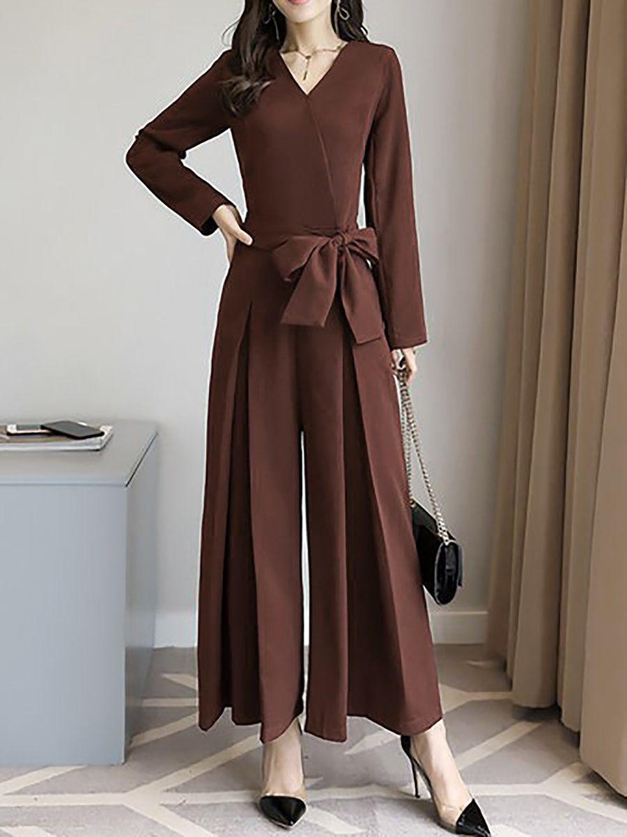 0e546470359 Stylewe Solid Jumpsuits For Work V Neck Elegant Black Long Sleeve Jumpsuits