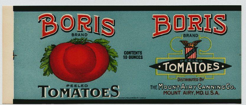 BORIS Vintage Tomato Can Label | tomato | Pinterest