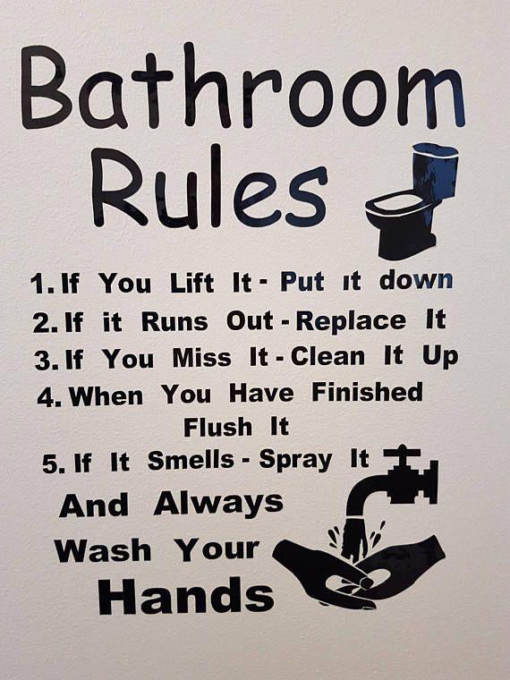Bathroom Rules Wall Decal / Sticker