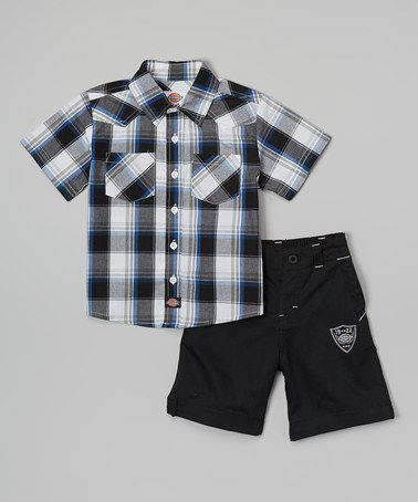 0fd41467a87 Another great find on  zulily! Gray Plaid Button-Up   Black Shorts - Infant    Toddler by Dickies  zulilyfinds
