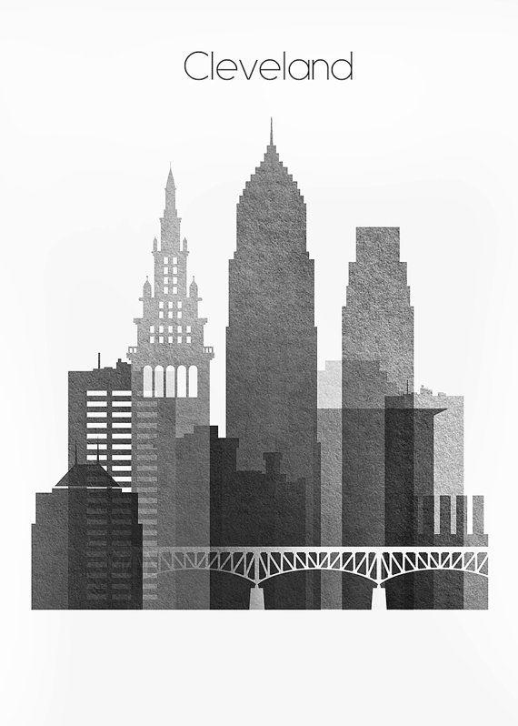 Cleveland skyline cleveland ohio cityscape art print for Cleveland skyline tattoo