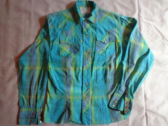 1970's  Shirt blouse H bar C turquoise western by vintagewayoflife