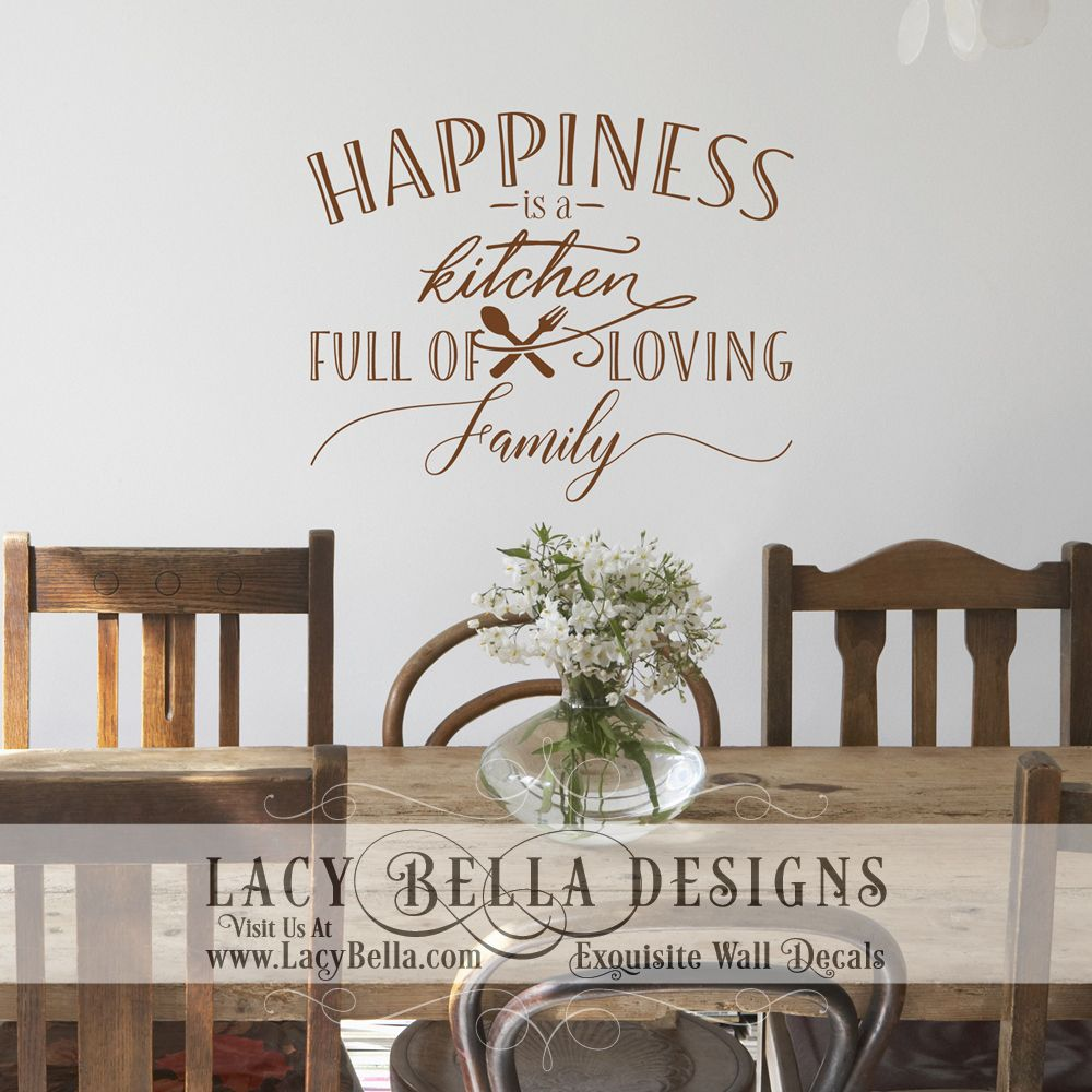 kitchen wall decal quote self adhesive sign about the love of family and friends happiness is a on kitchen decor quotes wall decals id=74132