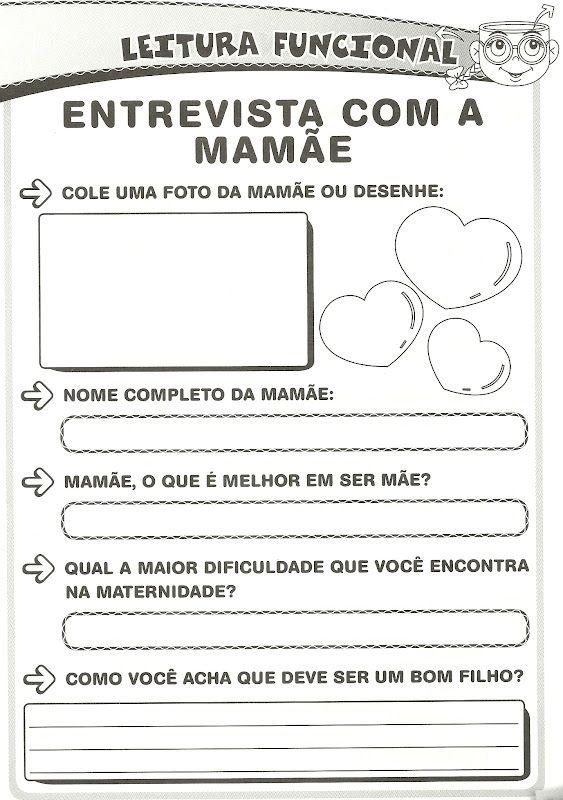Atividades Dia Das Maes Entrevista Com A Mamae Atividades Do
