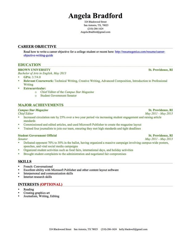 resume profile example for college students