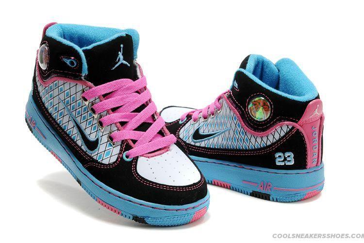4e618f172eea Classy Air Jordan Fusions 1+af1 Kids Black White Blue Pink