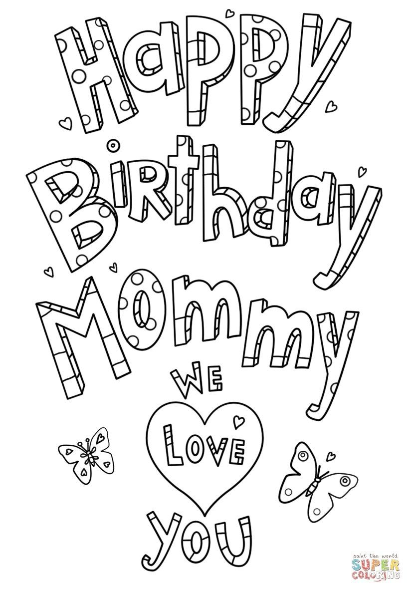 Mom Coloring Pages Happy Birthday Mommy Doodle Coloring Page Free