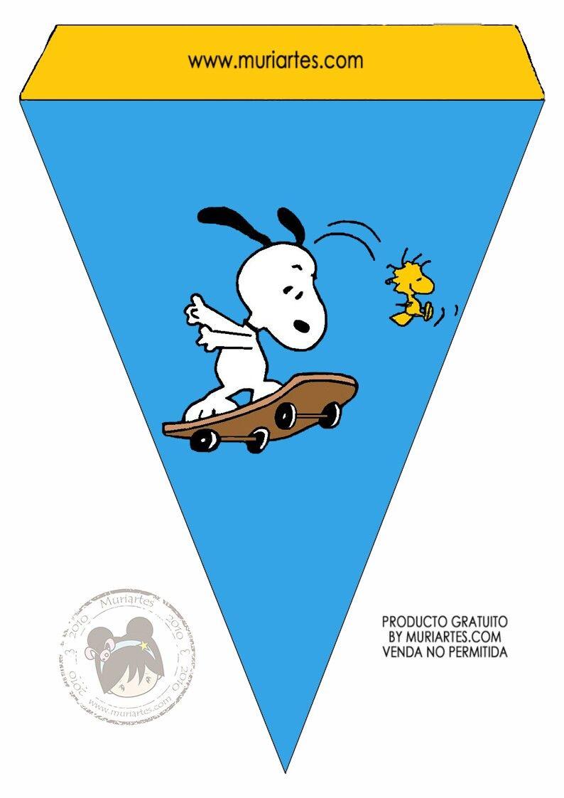 Banderita Snoopy | cajas y kits cumpleaños | Pinterest | Snoopy
