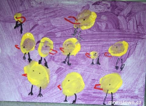 Chick Thumbprint Craft For Easter