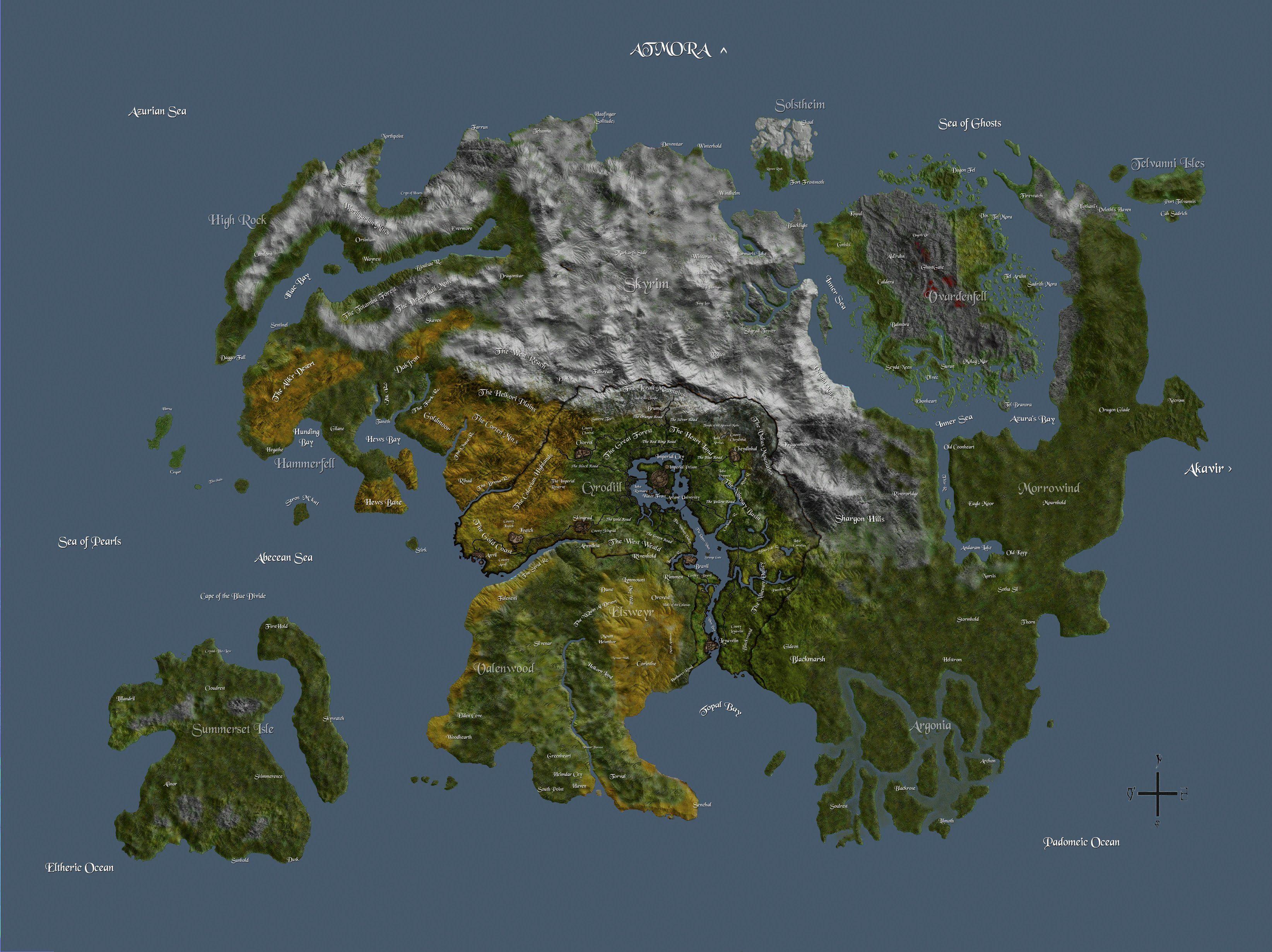 The Elder Scrolls - High Resolution Map of TAMRIEL | Gaming | Elder ...