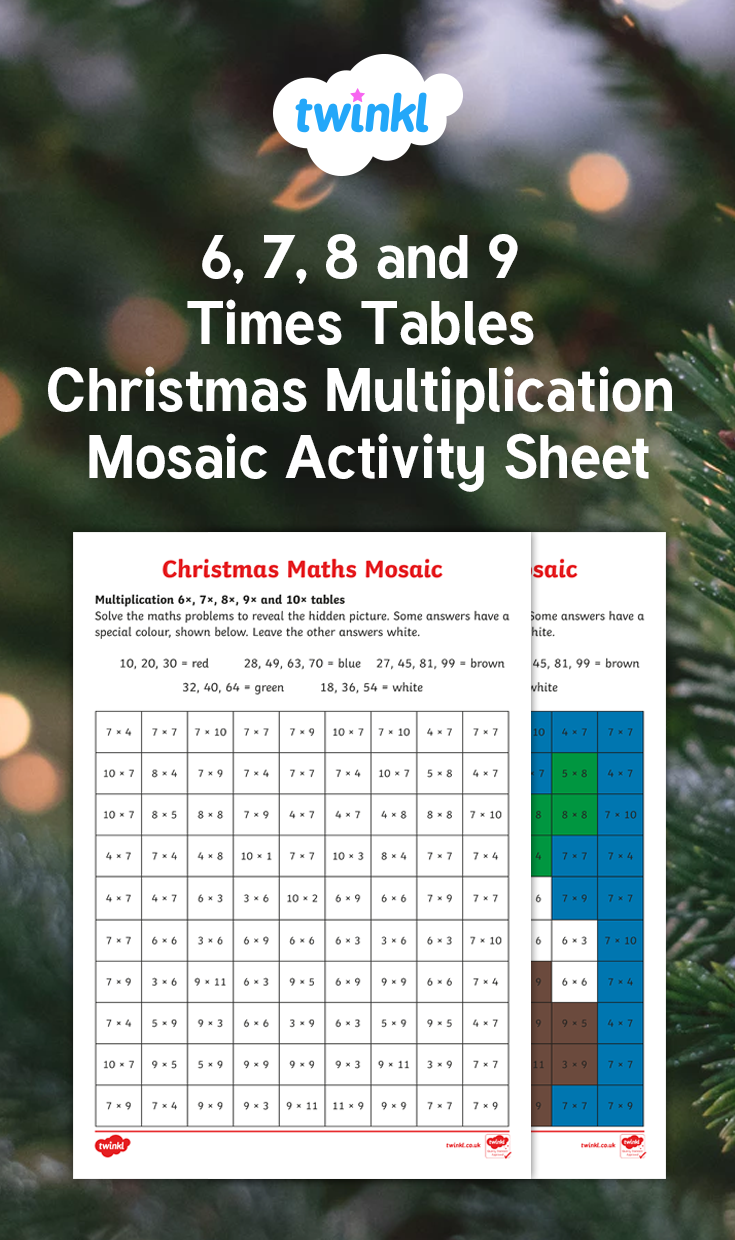 6 7 8 And 9 Times Tables Christmas Multiplication Mosaic Worksheet Fun Math Activities Times Tables Fun Math Worksheets