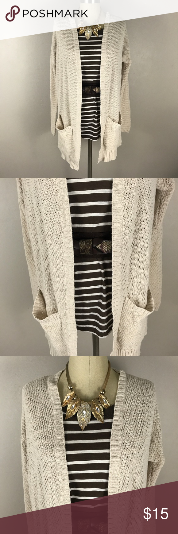 8a81ecc571 UO BDG Cream Open Knit cardigan sweater sz M Urban outfitters BDG Cream  Open Knit cardigan