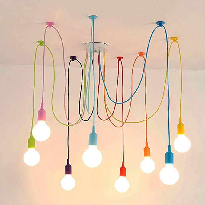Amazon Com Binjg Vintage Nordic Spider Pendant Lamp Multiple Adjustable Retro Pendant Lights Loft Classic Dec Lamparas De Techo Decoracion De Unas Iluminacion