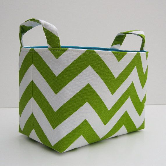 Charmant Items Similar To Fabric Organizer Storage Bin Container Basket   Lime Green  And White Chevron   Choose The Lining / Inside Color At Checkout On Etsy