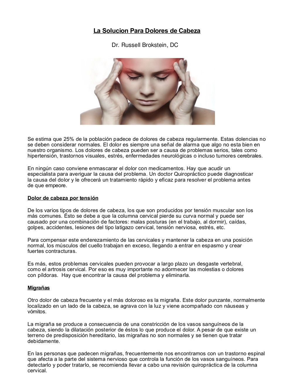 Quiropractico Freehold - La Solucion Para Dolores de Cabeza by Freehold Chiropractor - Dr. Russell Brokstein via slideshare