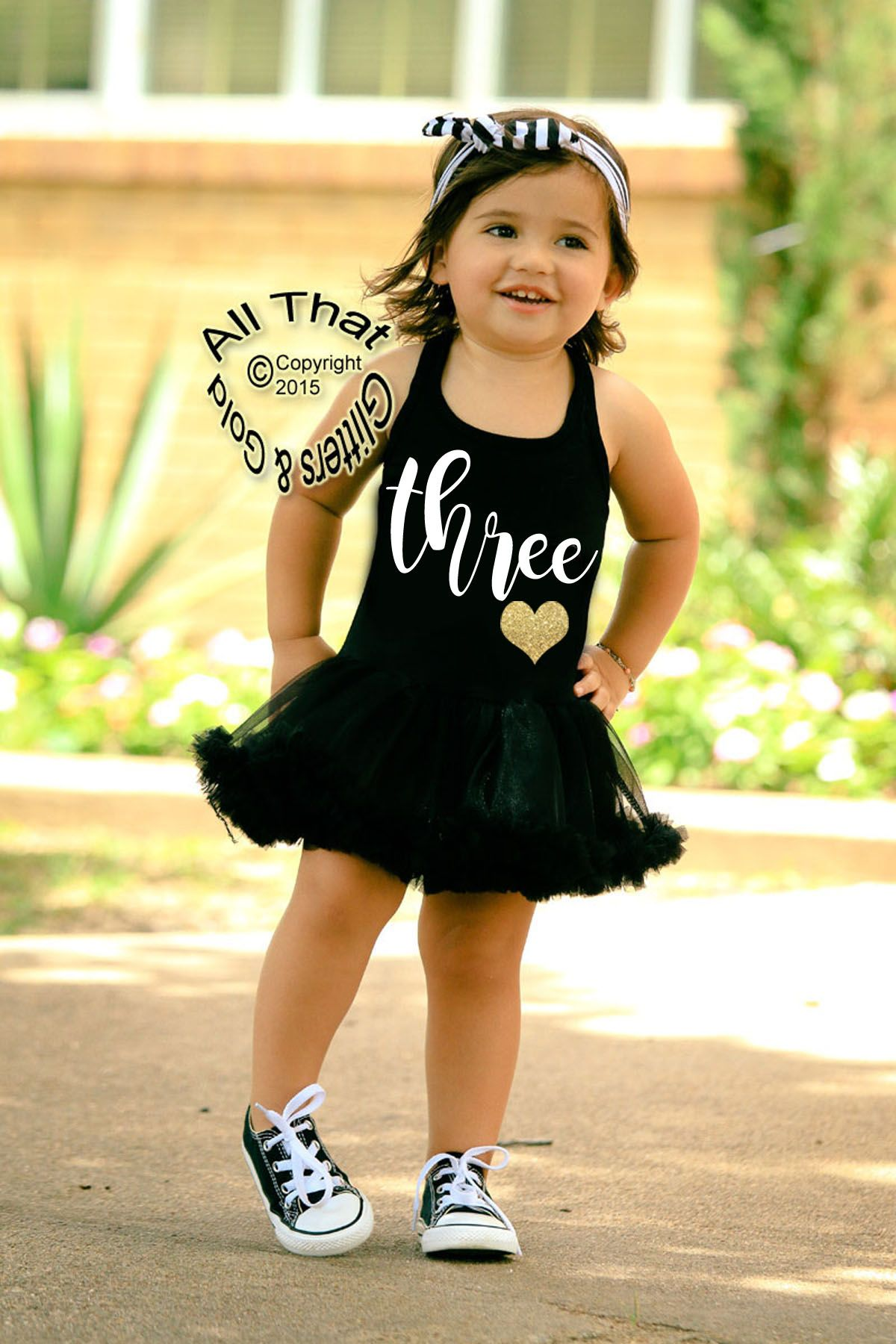 48447c85e79 Black and White Glitter Three 3rd Birthday Tutu Dresses For 3 Year Old  Toddler Girls