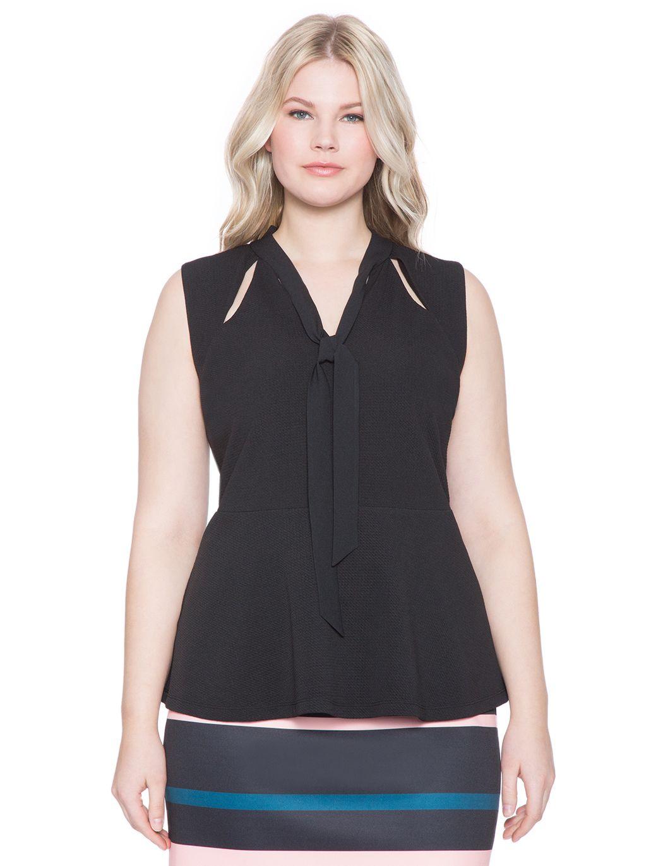 Tie Neck Cutout Top | Women's Plus Size Tops | ELOQUII