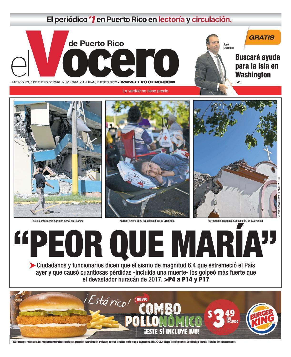 Edición Del 8 De Enero De 2020 8 De Enero Carlo Rivera Que Es Un Sismo