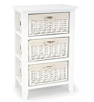 Off White Dresser With Baskets For Drawers Newport White 3 Drawer Basket Unit