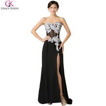 Sexy Robe Grace Karin Long Chiffon White Black High Split Wedding Party Formal Ball Evening Dresses Gowns Prom Dress 2015 7519(China (Mainland))