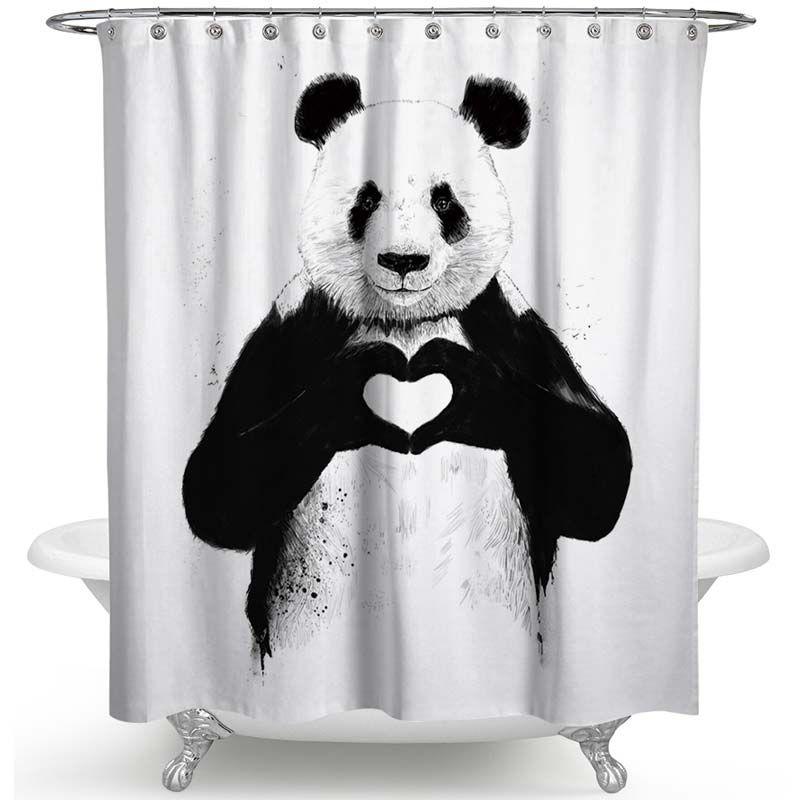 Kreativer Duschvorhang Von Liebem Panda Tiermotiv Wasserdicht Und