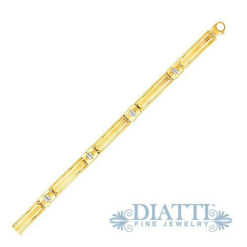 """14K Two-Tone Gold Men's Bracelet with Screw Head Motif Accents // Radiating aristocratic opulence, this men's bracelet showcases cut-out bar links connected by screw head accented sections. Wonderfully crafted in fine 14K yellow and white gold, this 8 1/4"""" piece comes with a lobster clasp. $1569.99"""