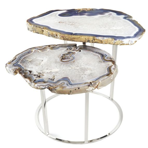 Matthew Studios Inc Quinn Two Tier Agate Coffee Table Furniture Coffee  And Cocktail Tables Metal Stone Dering Hall