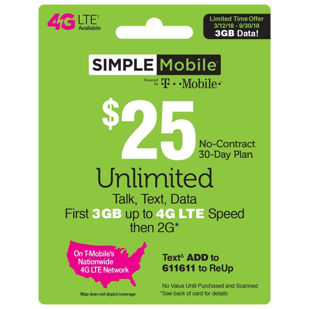 Simple Mobile $25 Unlimited Talk Text Data Prepaid Card
