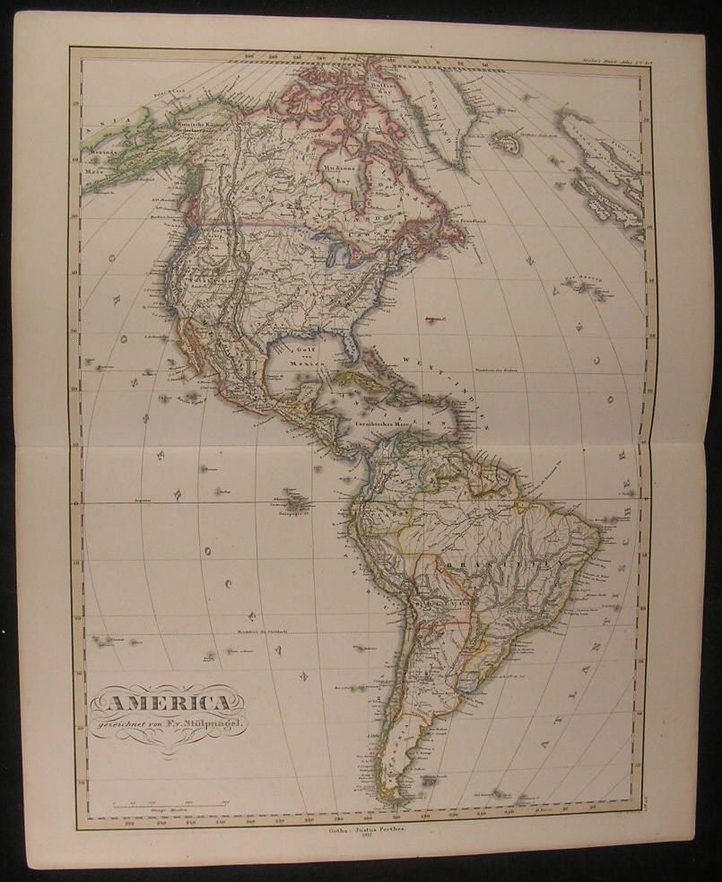 North America Political Outline Map%0A North  u     South America California Texas      antique Stulpnagel hand color  map