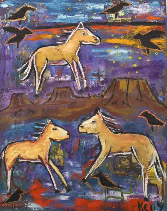 """Wild Horse Mesa"" by New Mexico artist Kelly Moore #artbrut #outsider #selftaught"