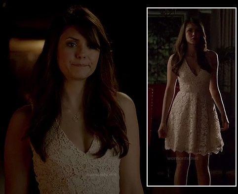 Elena S White Lace Graduation Dress On The Vampire Diaries