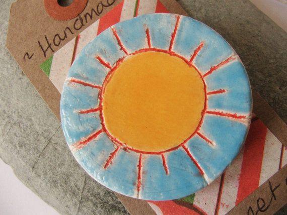 Handmade Ceramic Pottery Sun Magnet  kitchen  by RowanSongCrafts