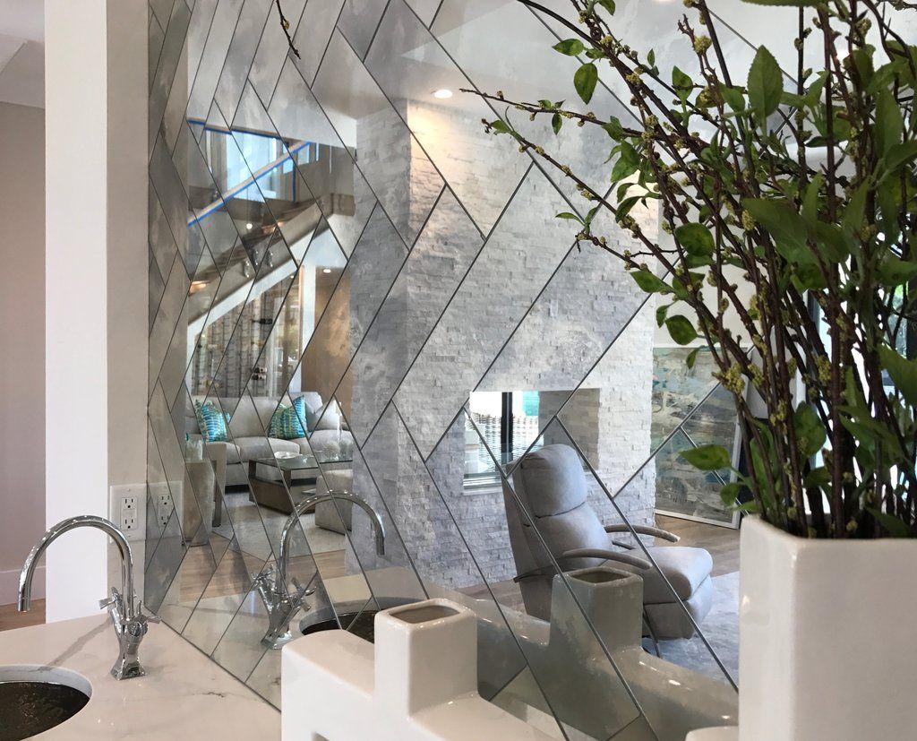 Herringbone Antique Mirror Tiles | Antique mirror tiles ...
