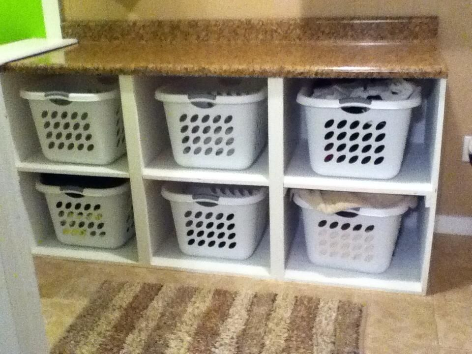 laundry basket shelf with wicker baskets or add doors. Black Bedroom Furniture Sets. Home Design Ideas
