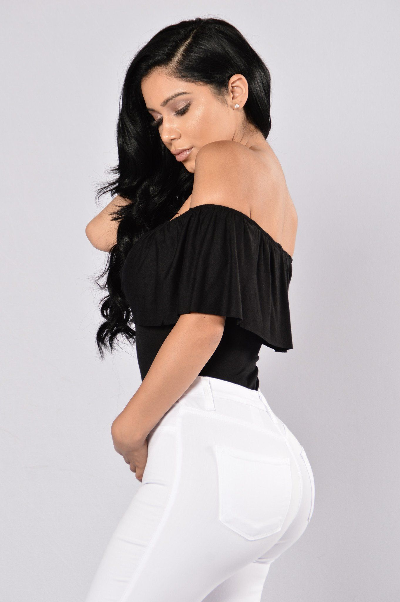 Available in Burgundy and Black Off Shoulder Body Suit Top Ruffle Snap  Button Bottom Cheeky Bottom Sleeveless Made in USA 95% Rayon 5% Spandex All  Bodysuits ... 781df8962