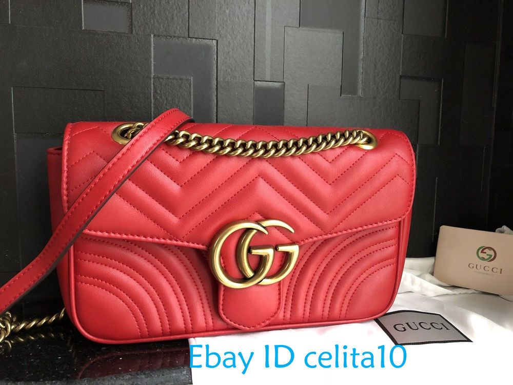 d92307f4eea683 GUCCI//100% Authentic//GG//Marmont//Red//Matelasse//26cm//Shoulder//Bag # fashion #clothing #shoes #accessories #womensbagshandbags (ebay link)